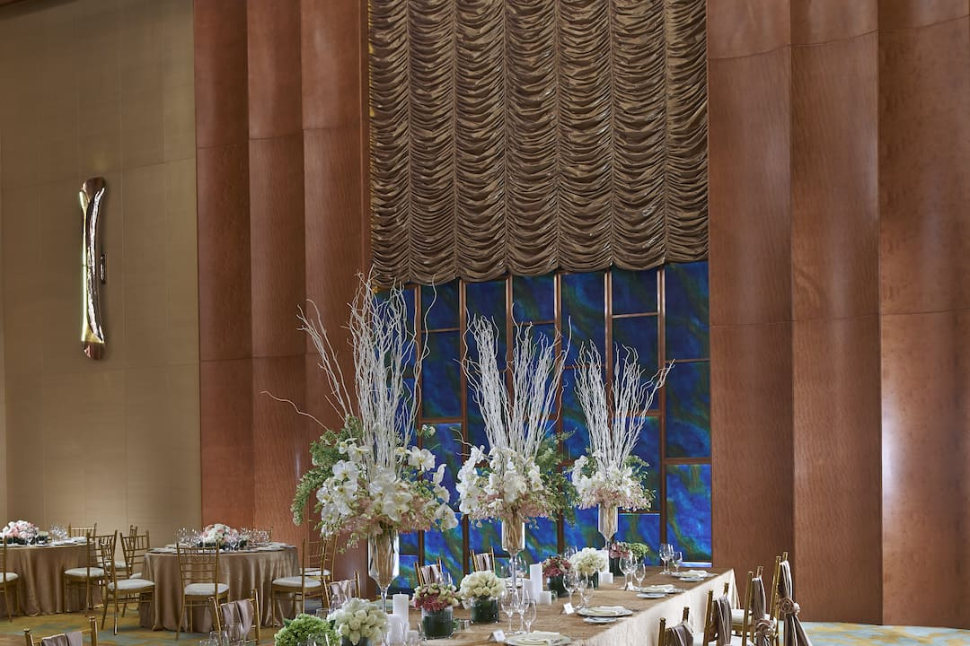 long table setting in grand ballroom at Mandarin Oriental Pudong, Shanghai