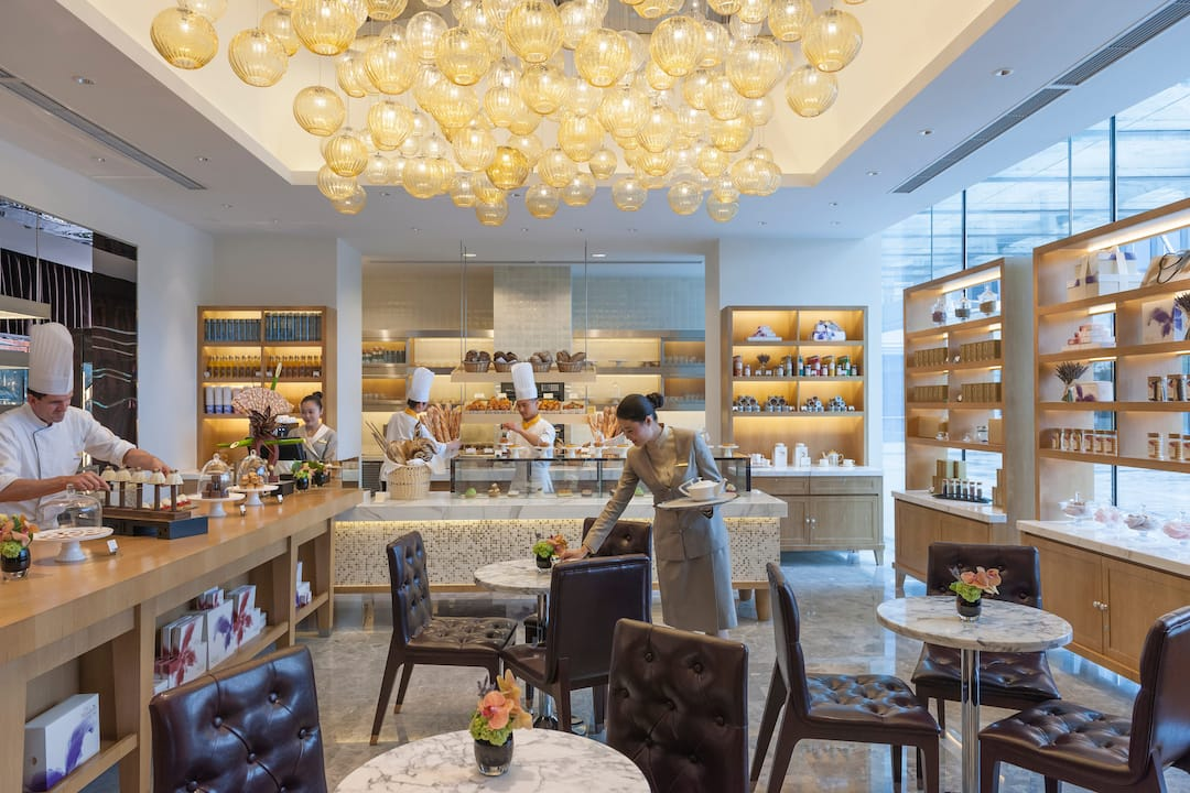 interior of cake shop at Mandarin Oriental Pudong, Shanghai