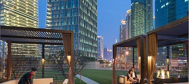 terrace at qi bar at Mandarin Oriental Pudong, Shanghai