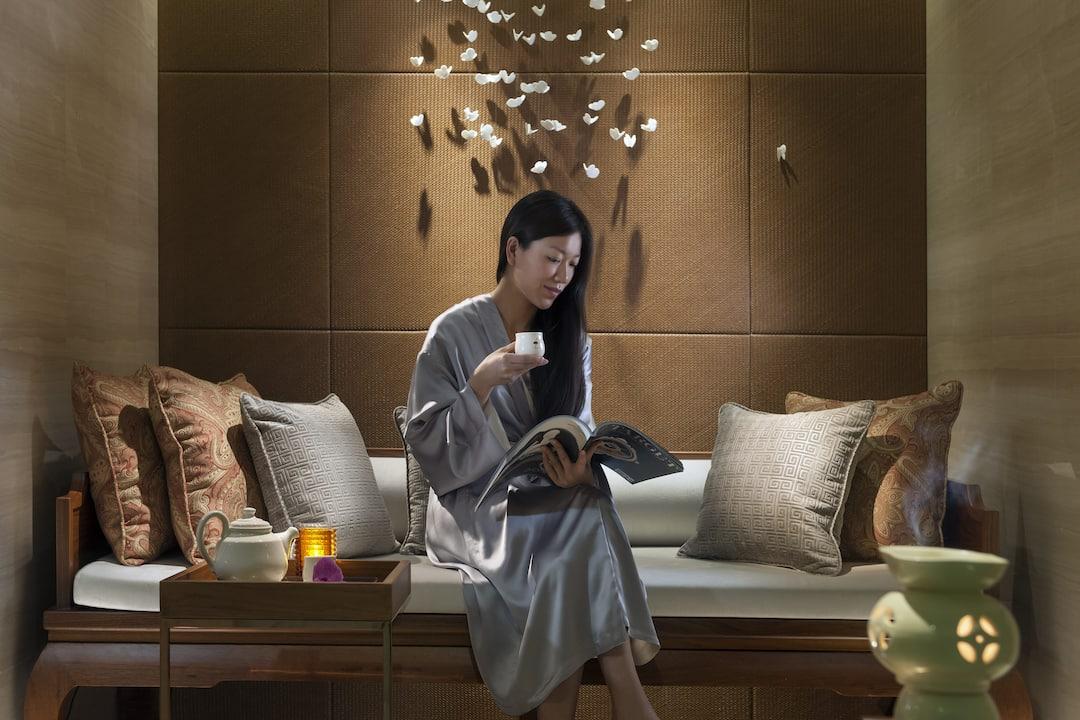 lady enjoying tea in spa
