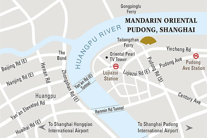 This map of Shanghai shows that Mandarin Oriental Pudong, Shanghai is conveniently located along the Huangpu River.