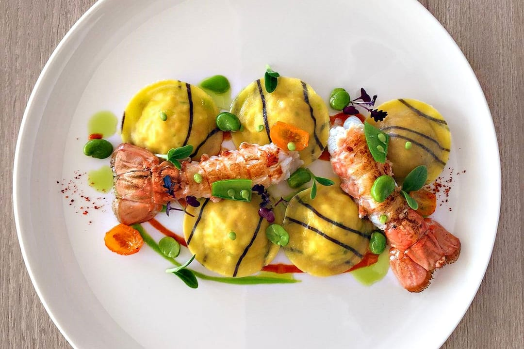 seafood dish with lobster