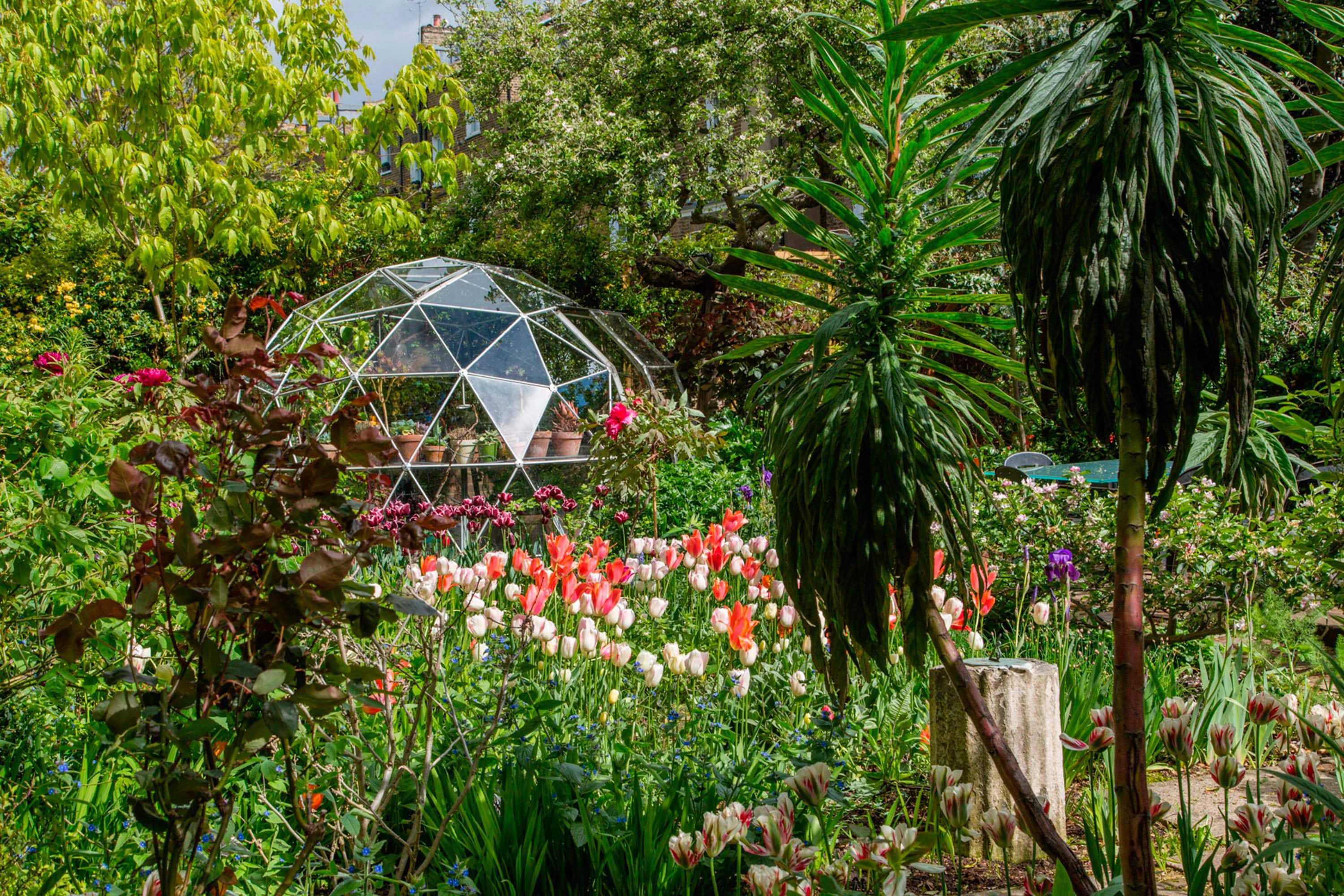 Garden with igloo greenhouse. Image courtesy of Matthew Bruce