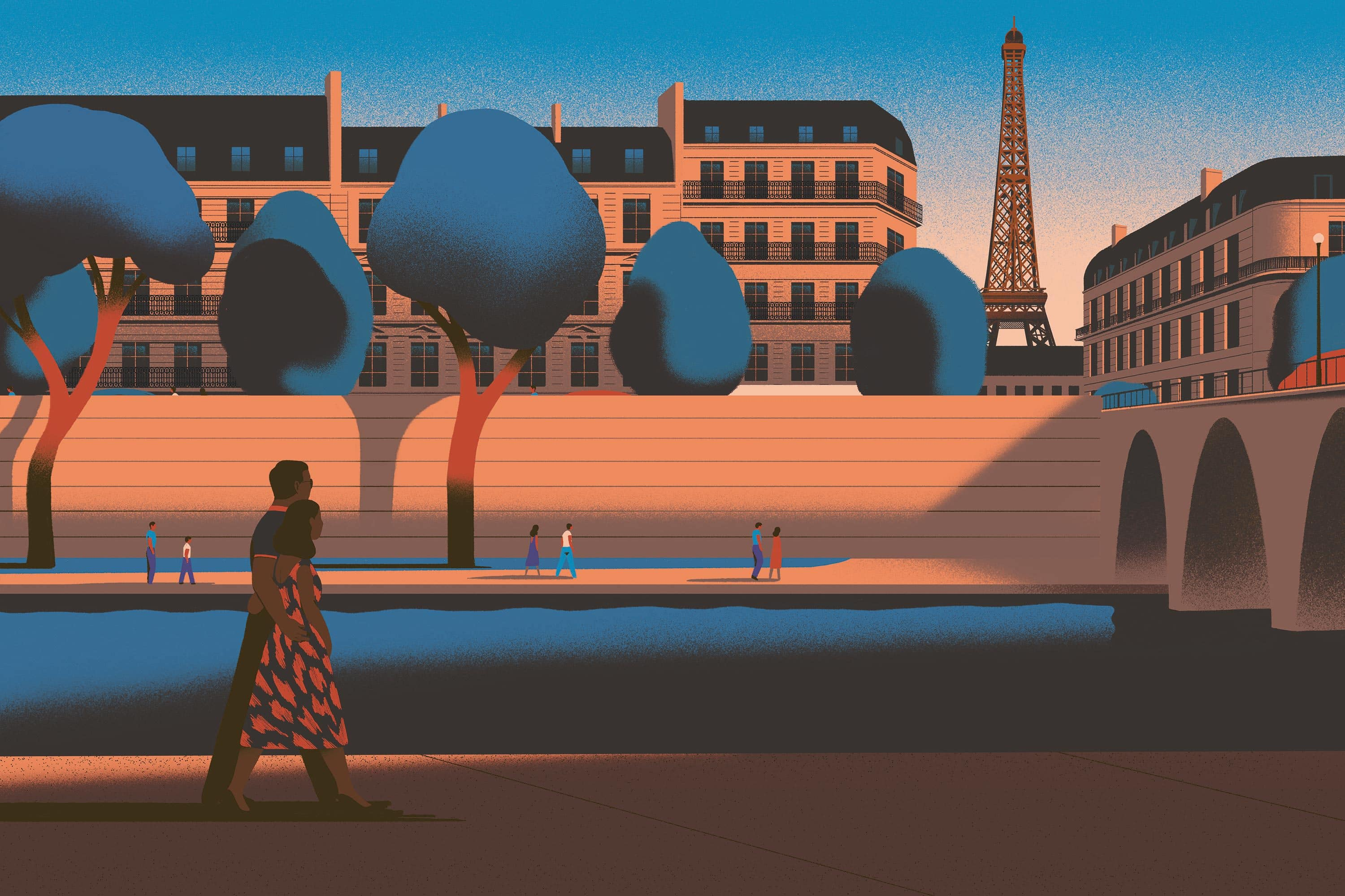 Illustration of a couple walking along The Seine in Paris