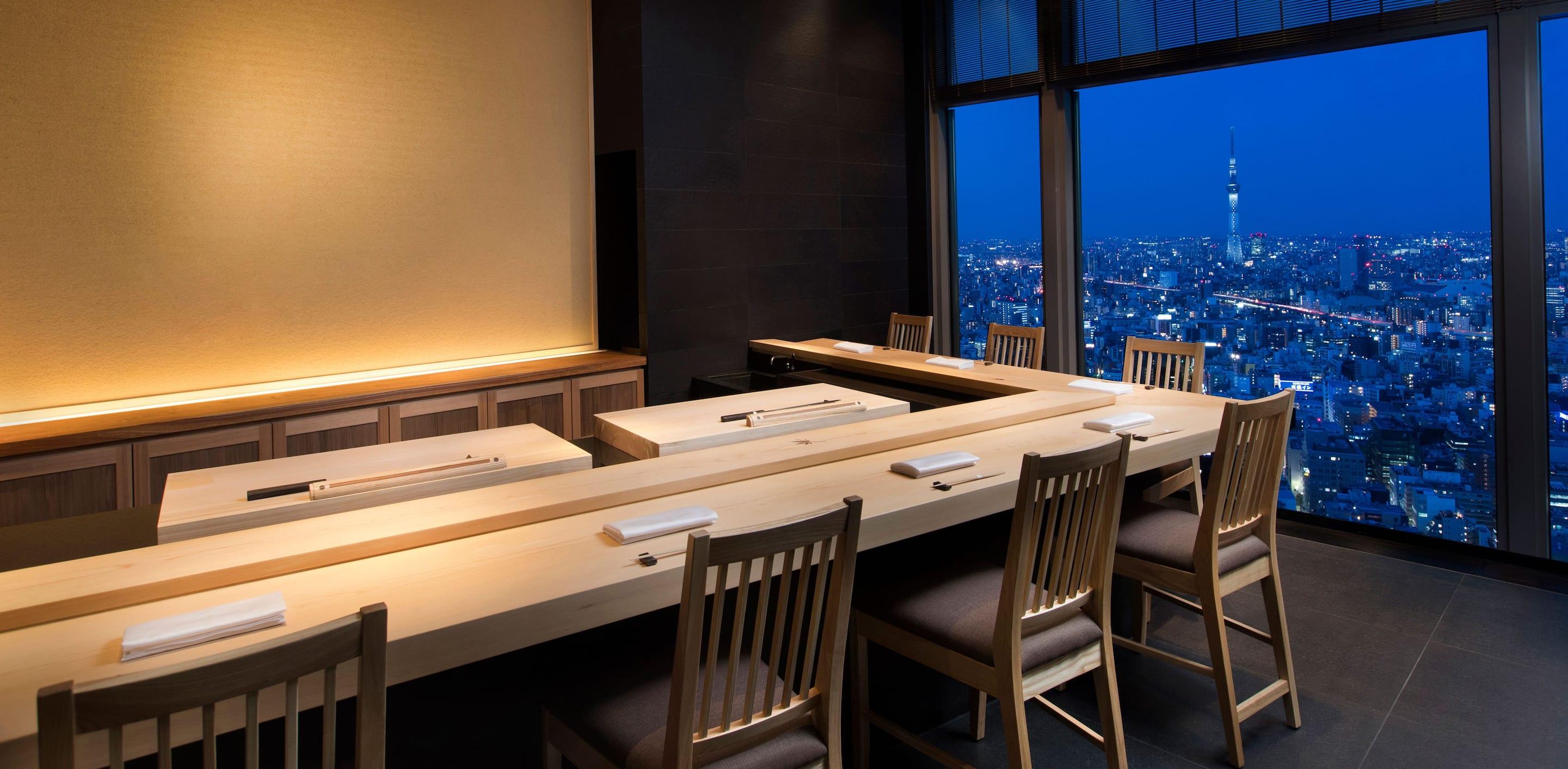 記念日 ディナー マンダリンオリエンタル 鮨 心 宮川 スカイツリー 夜景 カウンター