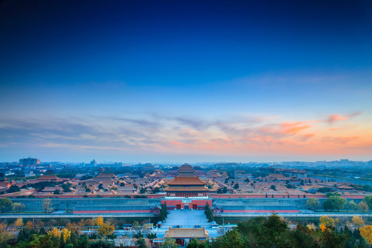 View over the Forbidden City in Beijing at nightfall