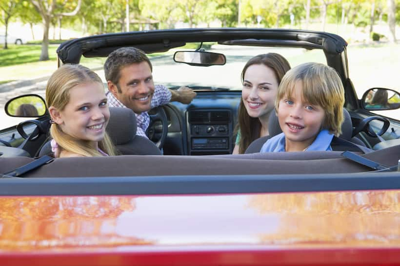 family driving and having fun