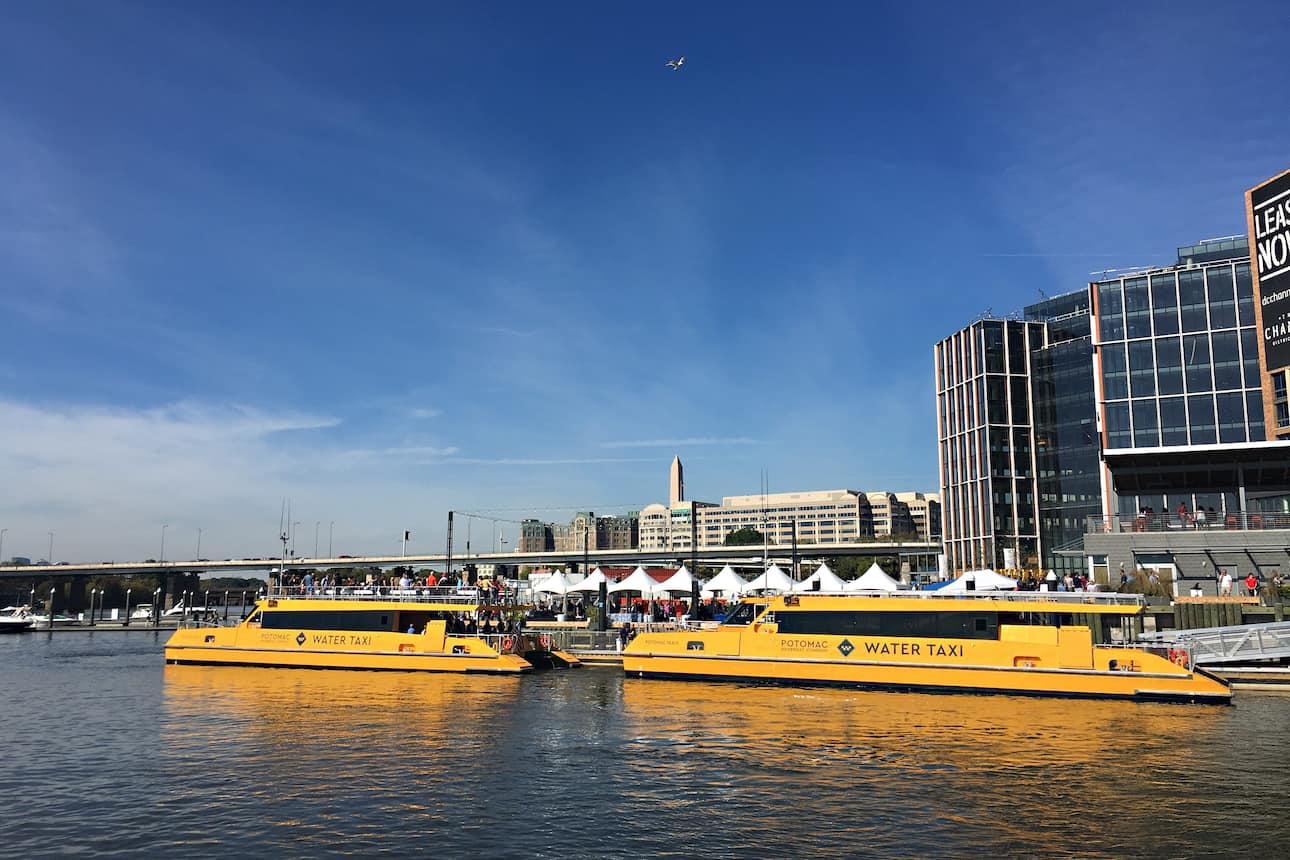 Water taxis arriving at The Wharf, Washington